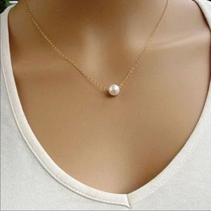 Faux Pearl Gold Choker Necklace